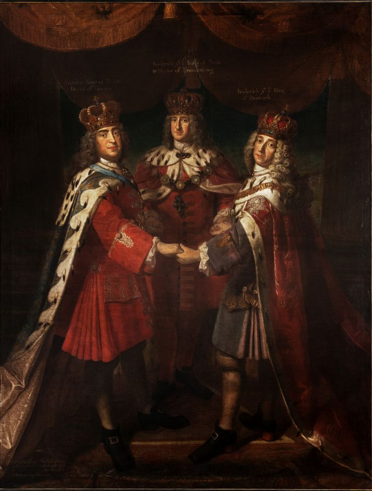 Meeting of three kings in Potsdam, 1709. Augustus II the Strong, Frederick I of Prussia and Frederick IV of Denmark
