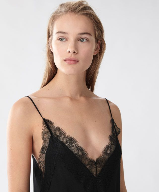 Wide blonde lace strappy top - | Oysho