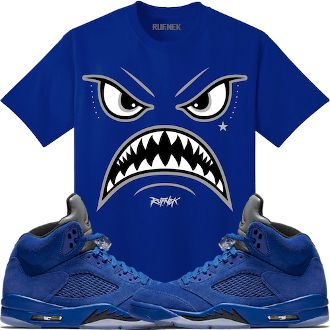 f51940c16a8d Jordan Retro 5 Royal Blue Suede Sneaker Tees Shirt - WARFACE in 2019 ...