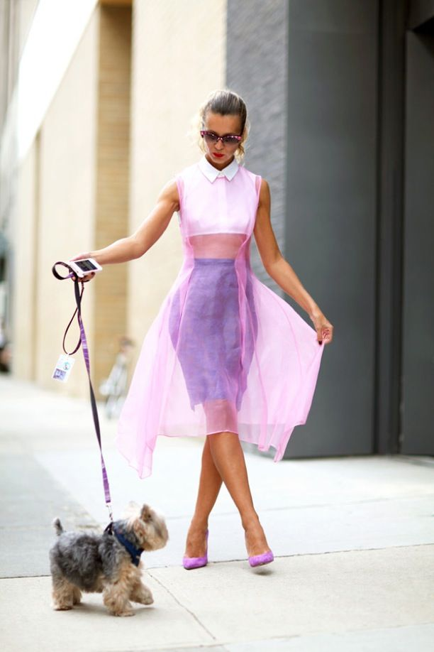 sheer-overlay-dress with purple pumps