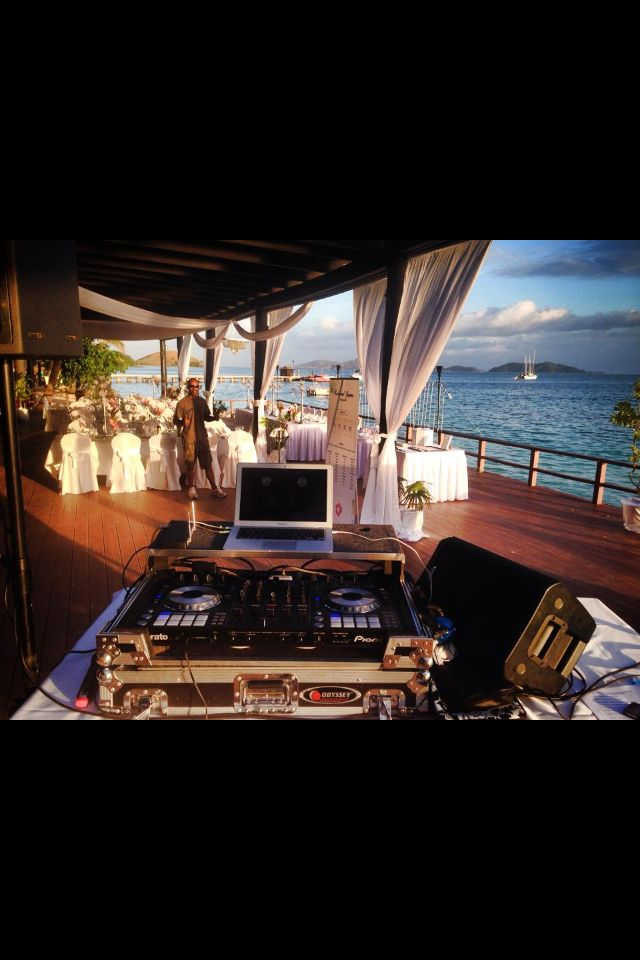 Our wedding reception on South Deck on Mana Island
