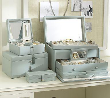 McKenna Leather Large Jewelry Box #potterybarn -- my new jewelry box!!