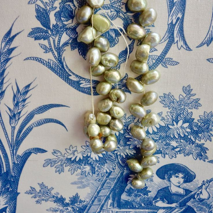 "15.75"" Strand Pistachio Colored Natural Pearl Strand Dyed to Enhance Color, Tip drilled"