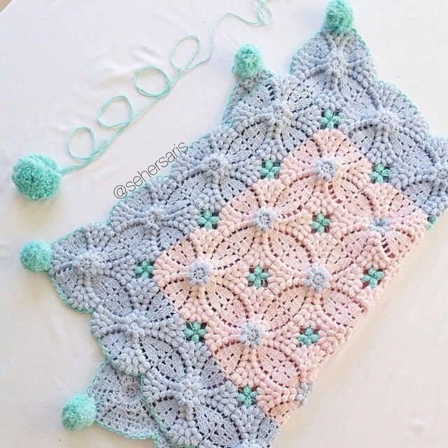 Receita de Crochê Infantil: MANTA DE SQUARES DE CROCHÊ MARAVILHOSA