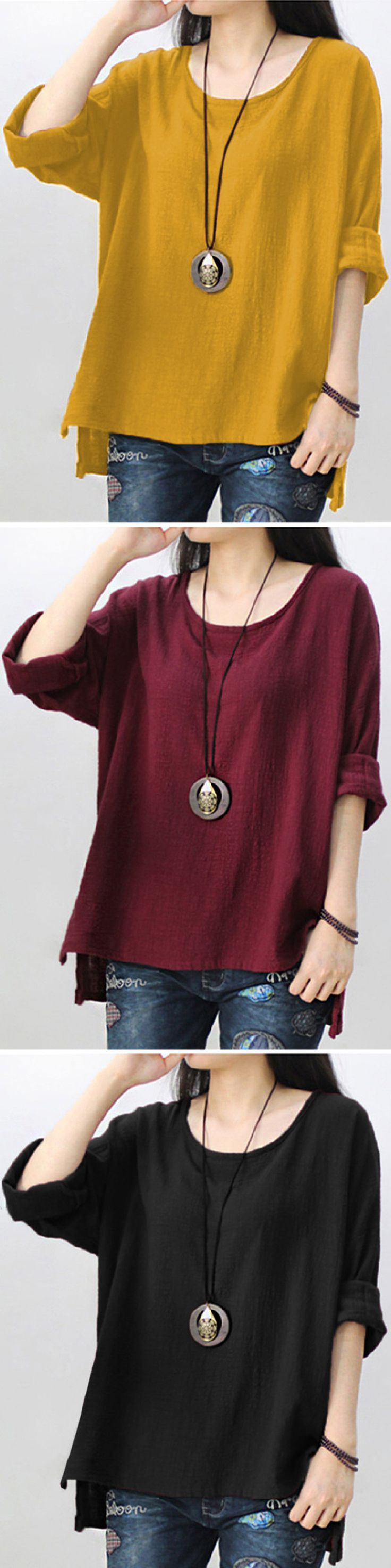 US$ 12.13 Casual Pure Color Long Sleeve High Low Blouse For Women