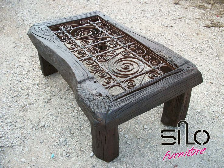 Vintage Table with wrought iron (fer forge) from 1909