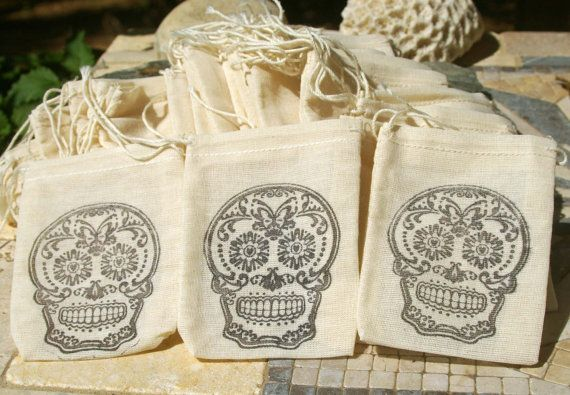 Favor Bags Sugar Skull Wedding Muslin Bag Favor Bag by OwensAcres, $6.95