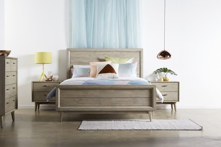 Celeste Bed Suite - Retro styling with a European twist. Acacia timber with beautifully brushed silver handles will bring character and personality to any bedroom. Available with matching tallboy, bedside and dressing table.