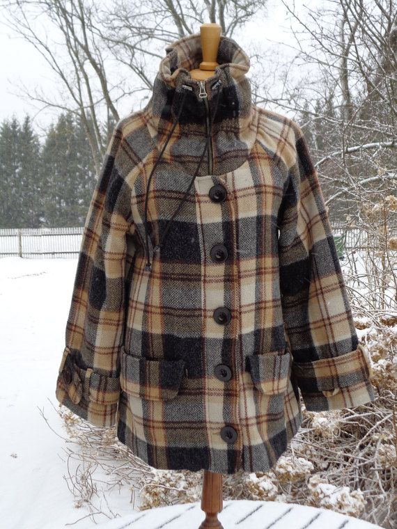 Vintage Quilted Overjacket Plaid Wool Short Coat by OLaLaVintage