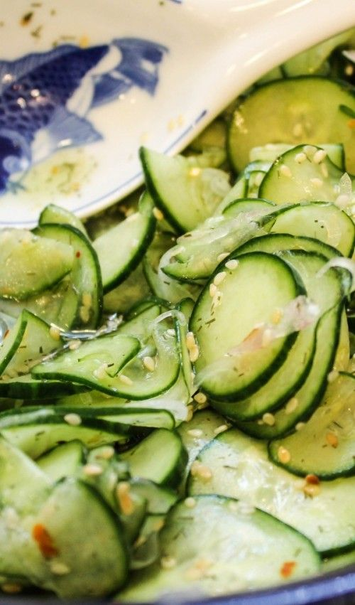 Asian Marinated Cucumber Salad -big hit with my husband who claims to not like cucumbers