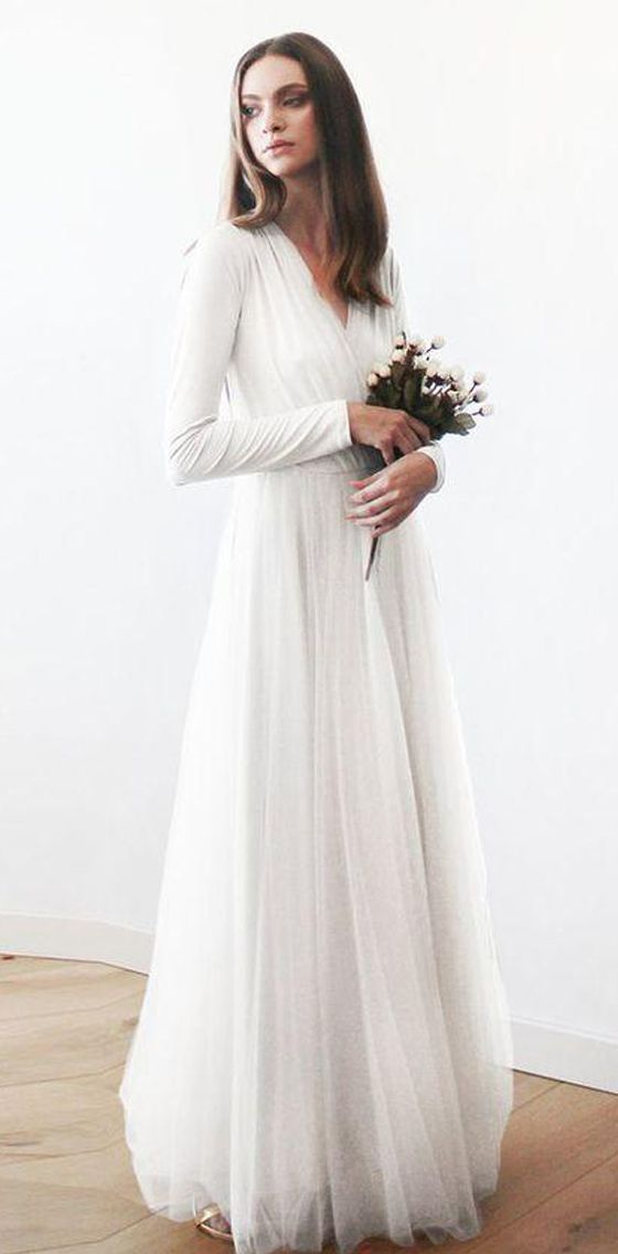 Long Sleeves V Neck Simple Cheap Beach Long Wedding Dresses, BG51635 #weddingdress #wedding