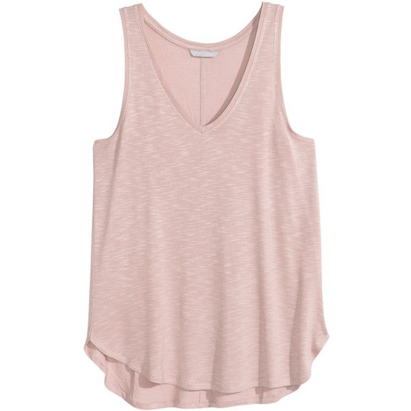 Tricot singlet 9,99 ($13) ❤ liked on Polyvore featuring pink top, v neck tank, v-neck tops, v-neck tank top and pink tank
