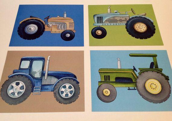 Tractor boys nursery wall art prints Sullivan by theprincessandpea, $21.00