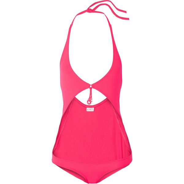 Eres Grigri Fortune cutout halterneck swimsuit (€390) ❤ liked on Polyvore featuring swimwear, one-piece swimsuits, pink, pink one piece swimsuit, one piece swimsuits, cut out one piece bathing suits, halter-top one-piece swimsuits and neck ties
