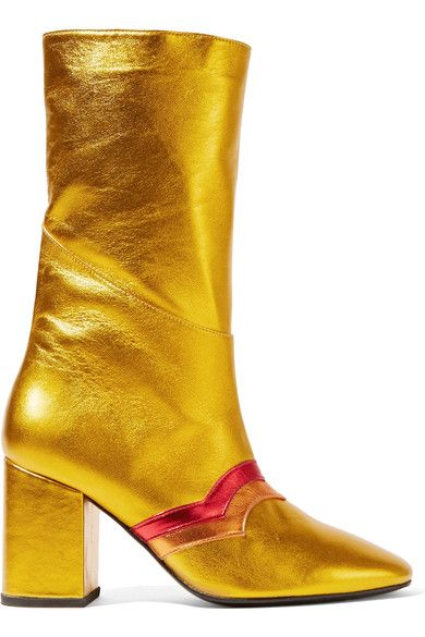 Heel measures approximately 80mm/ 3 inches Gold, red and orange leather Zip fastening along side Imported