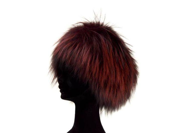 Cappello colbacco volpe filettata argentata  color prugna misure S M L