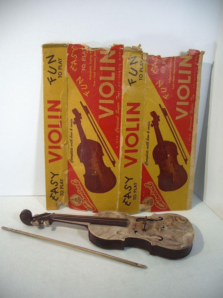 Toy Violin Carnival Super Toy Vintage Plastic Boy Girl Strings Box Bow Japan #CarnivalSuperToy
