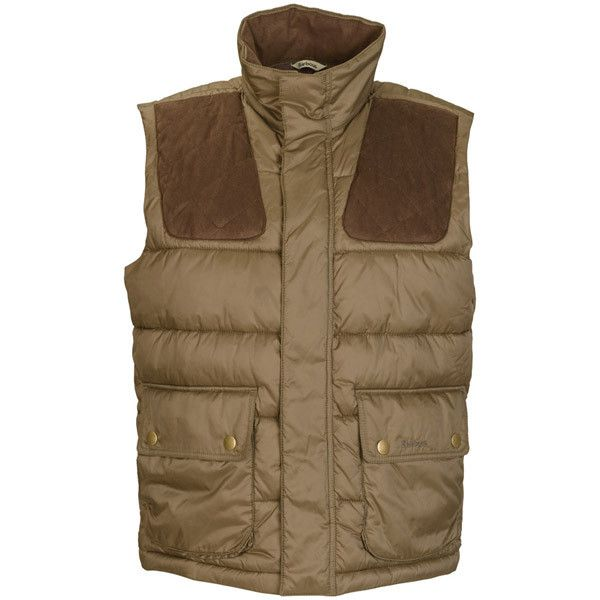 Barbour Colwarmth Quilted Gilet ❤ liked on Polyvore featuring outerwear, vests, barbour vest, brown quilted vest, quilted zip vest, barbour gilet and padded vest