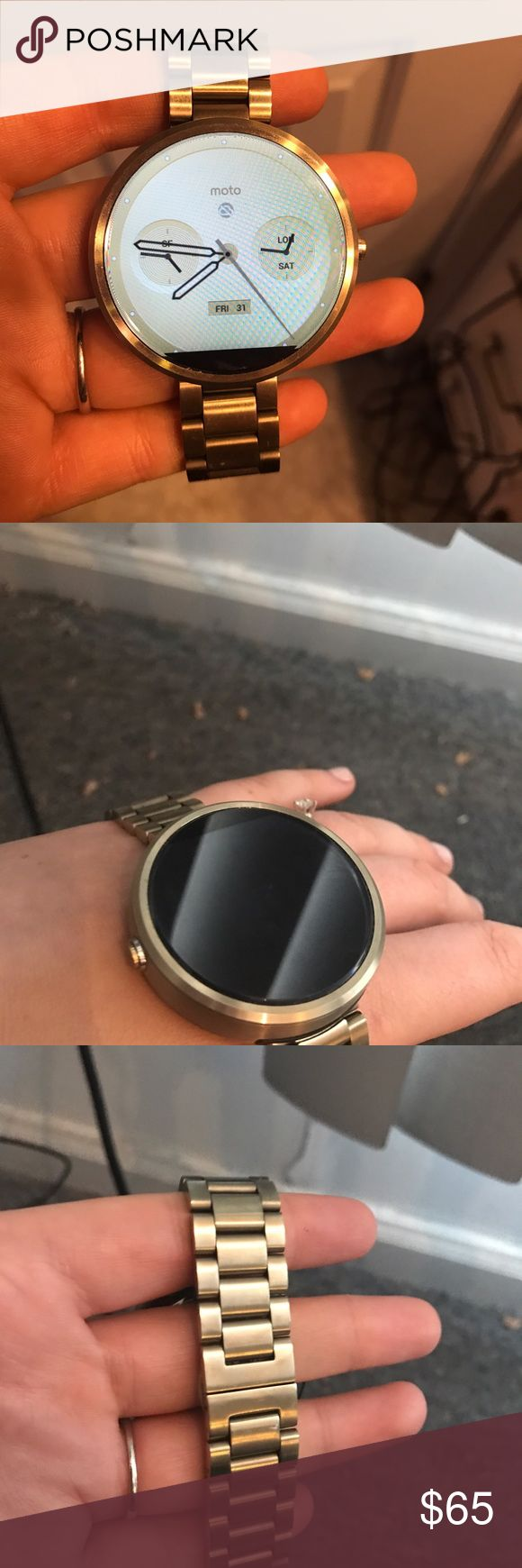 Motorola 360 Smartwatch Like new condition Moto360 smartwatch! Works best with Android but also iPhone compatible. Lovely champagne color band (can be switched out). All offers considered. Motorola  Jewelry