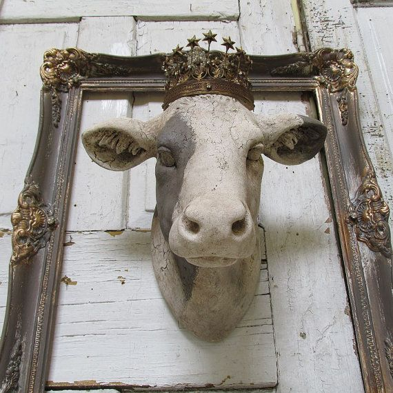 Cow head wall mount painted white putty rustic farmhouse country bovine w/ crown faux taxidermy wall hanging home decor anita spero design