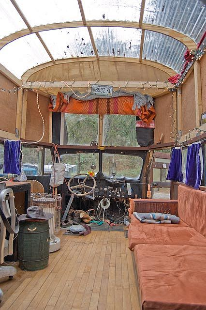 OMG, I want to take THIS bus to Burning Man!  Provided the engine is updated and it gets decent gas mileage...  Sooooo very cool.