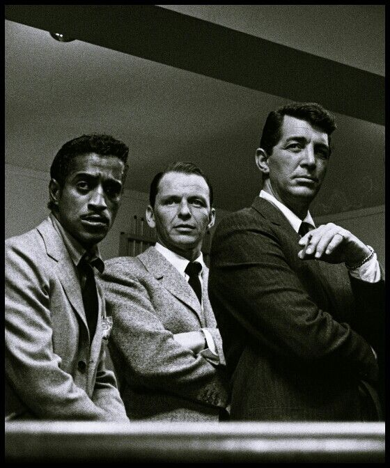 The Rat Pack- Frank Sinatra, Dean Martin, & Sammy Davis Jr.- just standing around and looking cool as a cat