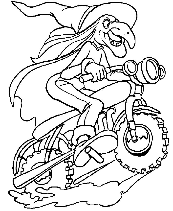 Printable Halloween Coloring Page Biker Witch