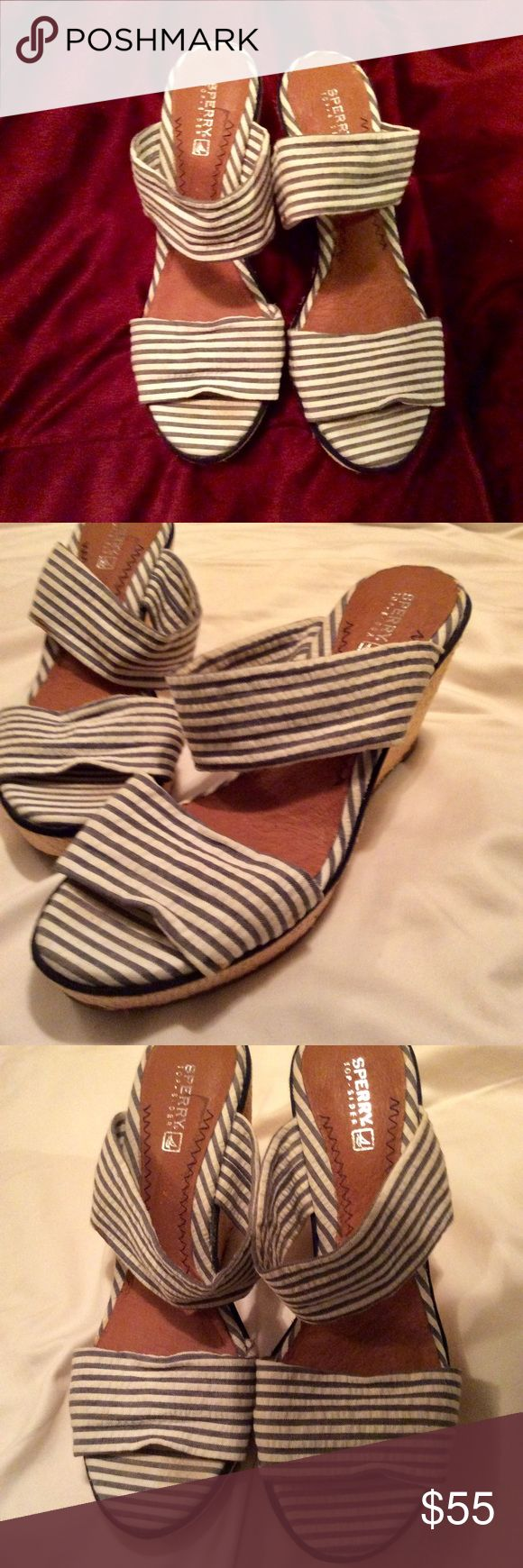 Perfect condition Sperry Topsiders wedges. Worn once. Absolutely perfect condition. Irresistible Sperry Topsiders wedges. On trend for spring/summer 2018. Must have shoes! Sperry Top-Sider Shoes Wedges