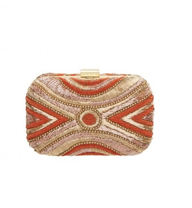 This Mimco clutch is influenced by the ornate embroidered features found on the jackets of Spanish Matadors.