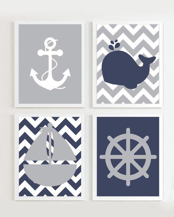 Nautical Prints Navy Grey set of 4 Beach Ocean by PrincessSnap