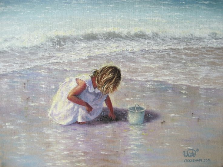 Finding Sea Glass Print - girl on beach, beach paintings, beach girl, shelling, Vickie Wade art. $26.00, via Etsy.