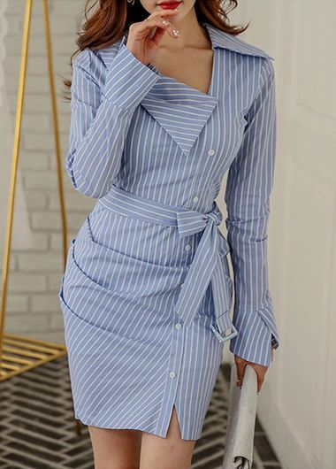 Blue And White Vertical Pinstripe Shirt Dress