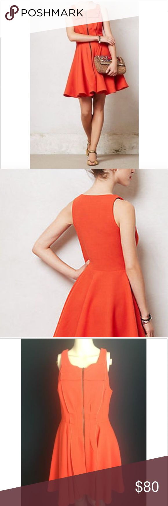 Anthropologie Poppy Petite Dress By Eva Franco Anthropologie Poppy Petite Dress By Eva Franco Orange Red. New With Tag  SIZE:10P  ATTENTION: Color might have slight variances between the real product and the image show in the listin Anthropologie Dresses