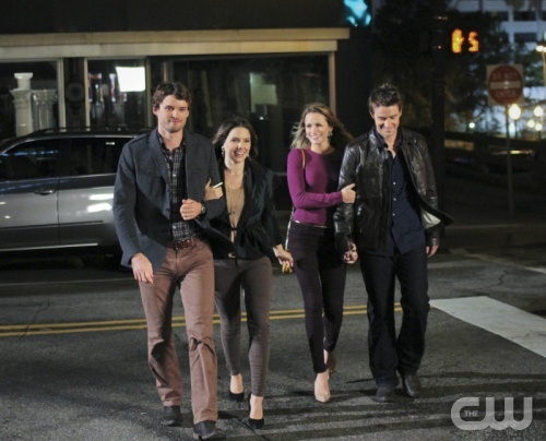 """""""One Tree Hill"""" - Pictured L-R): Austin Nichols as Julian, Sophia Bush as Brooke, Shantel VanSanten as Quinn and Robert Buckley as Clay in ONE TREE HILL on THE CW. Photo: Fred Norris/The CW ©2012 The CW Network. All Rights Reserved."""