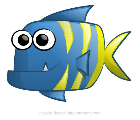 Cute cartoon fish with colorful stripes and a tiny for Fish cartoon movie