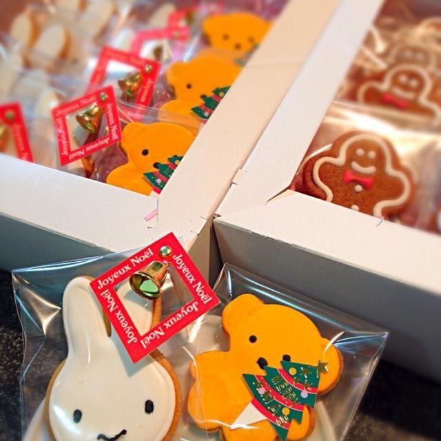 ジンジャーブレッド20ケ、ミッフィー16ケ、クマ4ケ。3歳児のクリスマスパーティーの持ち寄り菓子に作成。 - 5件のもぐもぐ - クリスマスのアイシングクッキーBOX by babirymaron