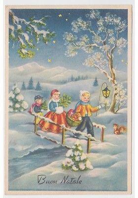 1961 cartolina auguri d'epoca di Natale neve bambini ponte scoiattolo regali