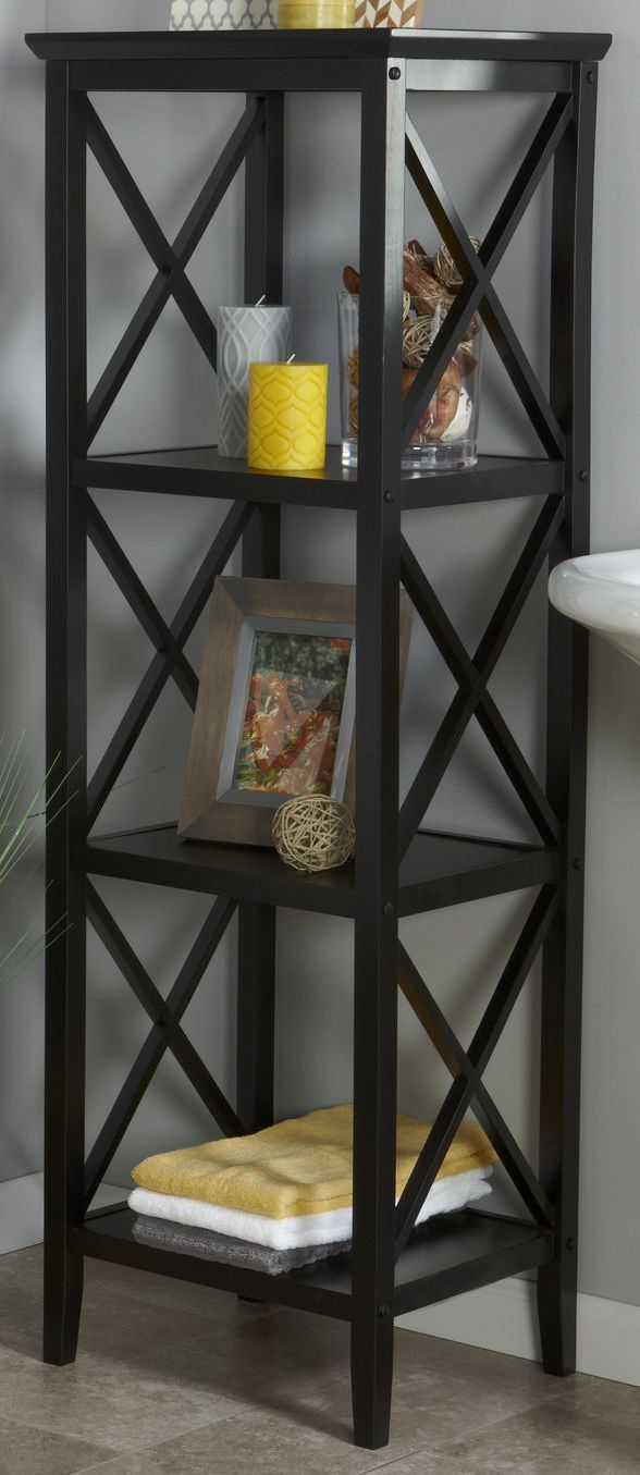 espresso linen tower this x modern storage tower has shelves for your inner organizer this bathroom furniture can organize your linens and saves space