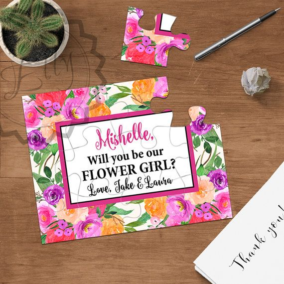 Will you be my flower girl puzzle, Asking flower girl ask to be flower girls, be my junior bridesmaid proposal, jr. bridesmaid, asking cart