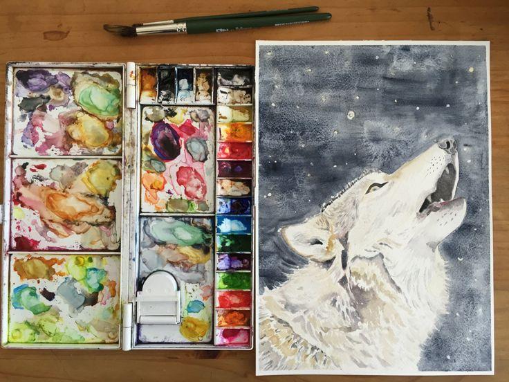 Night Howler - Fine Art Giclée Print of a wolf by LittleRowanRedhead on Etsy