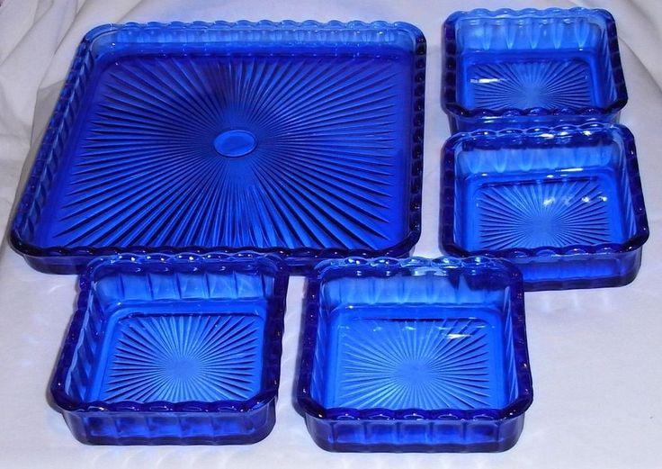Vintage Cobalt Blue Glass 5 Piece Snack - Relish - Trinket - Dresser Tray Set