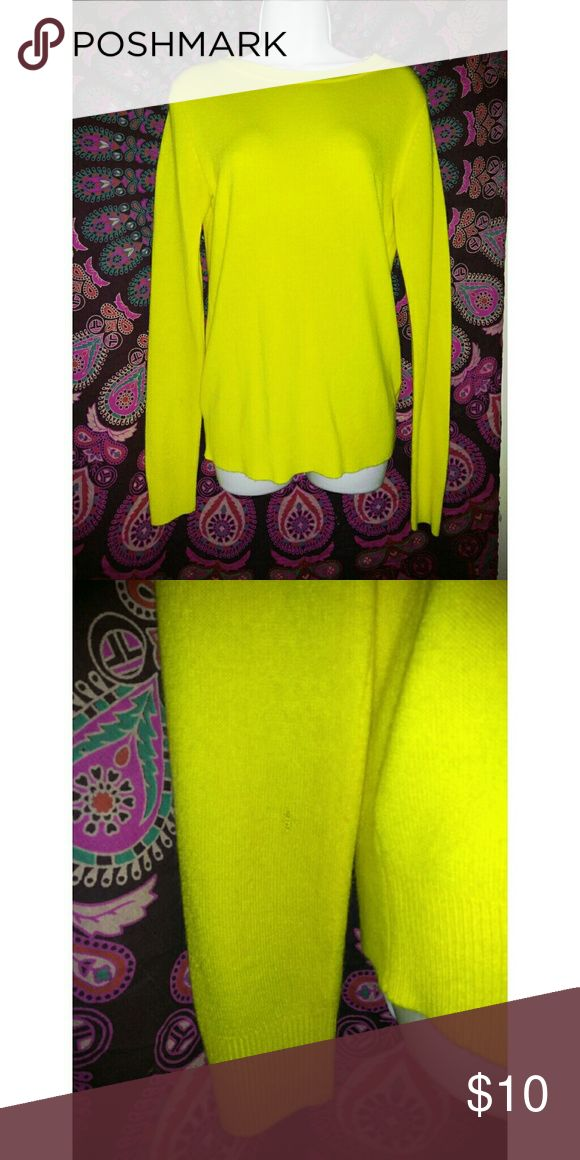 Forever 21 Yellow Long Sleeve Bright yellow forever 21 long sleeve top Worn once Tiny tear in one sleeve hardly noticeable Offers welcome  Bundle to save more Forever 21 Tops Tees - Long Sleeve