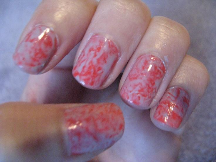 Saran wrap nails :)