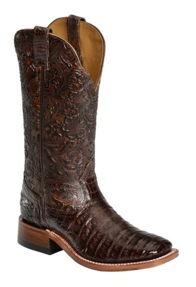 Boulet Chocolate Hand Tooled Caiman Cowgirl Boots - Square Toe available at #Sheplers