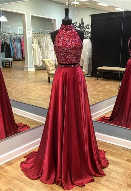 Two Pieces Prom Dresses,Red Prom Dresses,Beading Prom Dresses,A-line