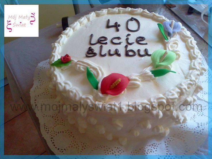 40 rocznica ślubu - tort śmietanowy - Mama-Kreatywna