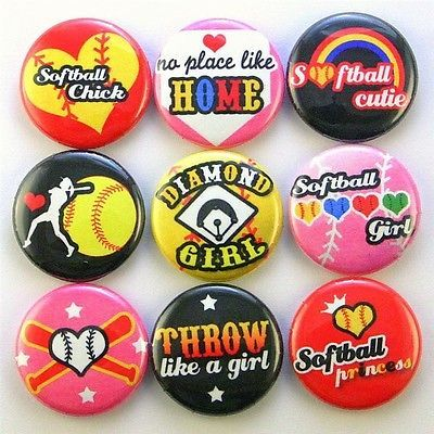 softball baseball magnet pin button charm girl gift bag party favor scrapbooking