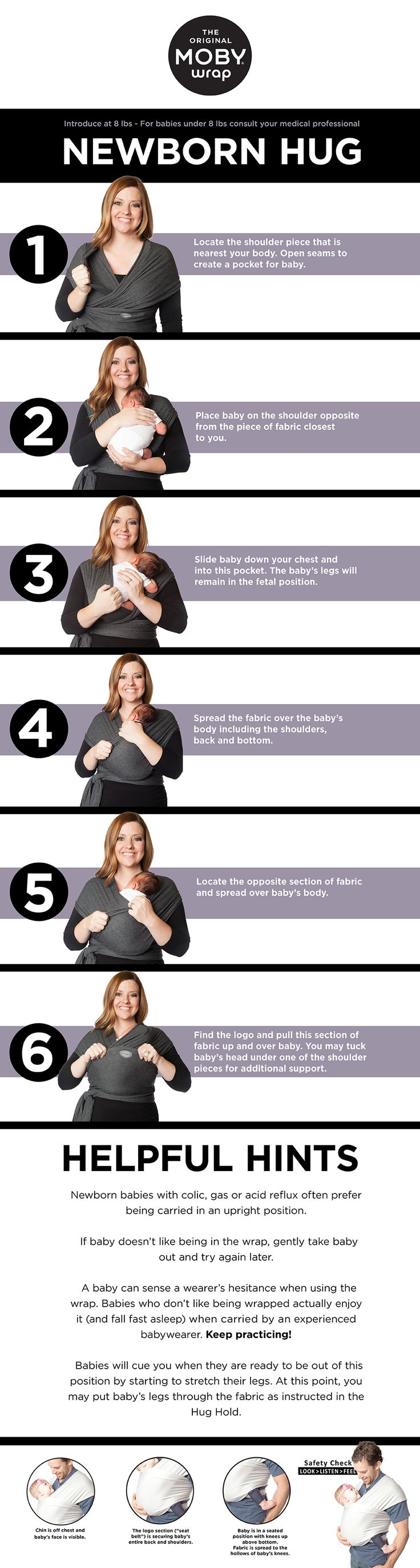 Helpful hints for babywearing a newborn in a stretchy wrap || babywearing tutorial