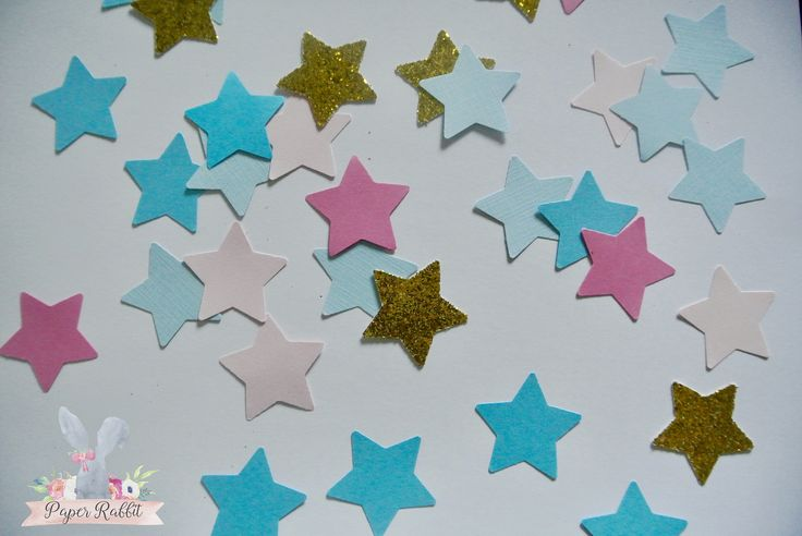 Gender Reveal Party Star Confetti. Pink, Blue & Gold Star Baby Gender Reveal. Boy or Girl Reveal Party Confetti. By Paper Rabbit on Etsy by PaperRabbit87 on Etsy