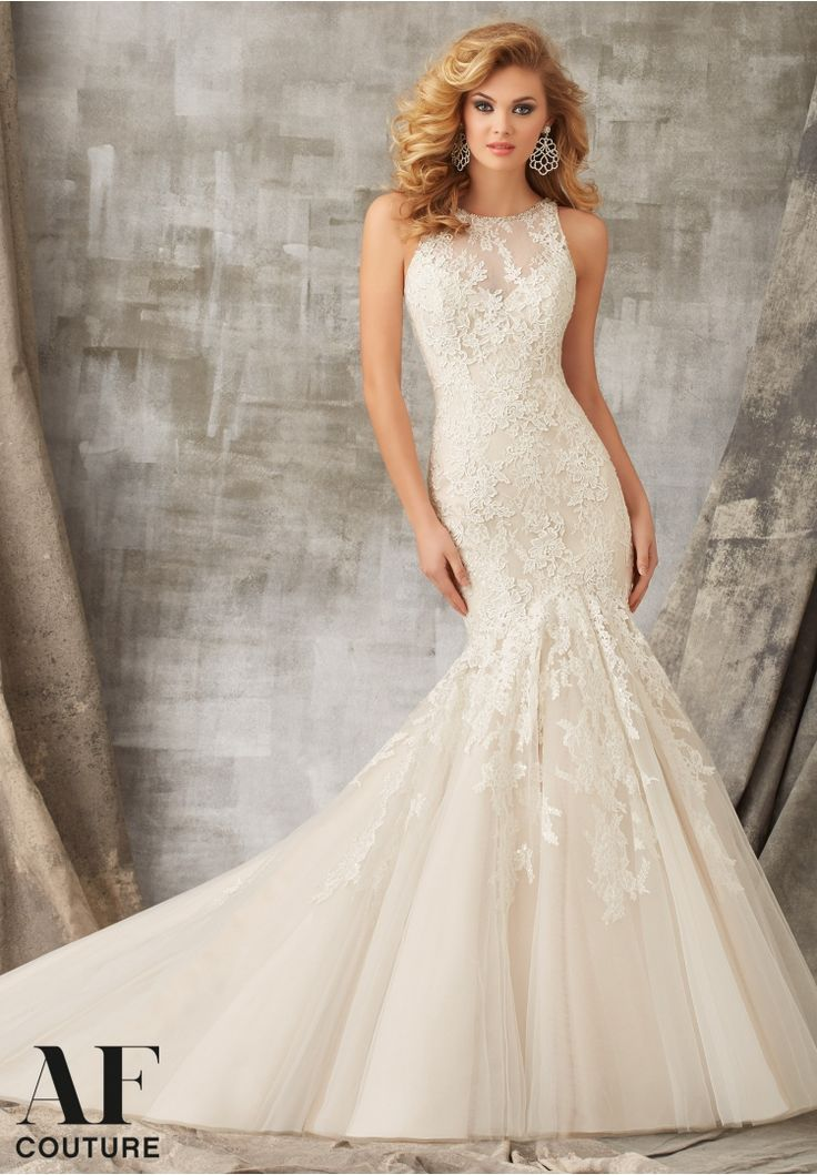 Bridal Gowns By AF Couture featuring Chantilly and Venice Lace Appliques Combined on Tulle and Edged with Crystal Beading Colors Available: White, Ivory, Ivory/Latte
